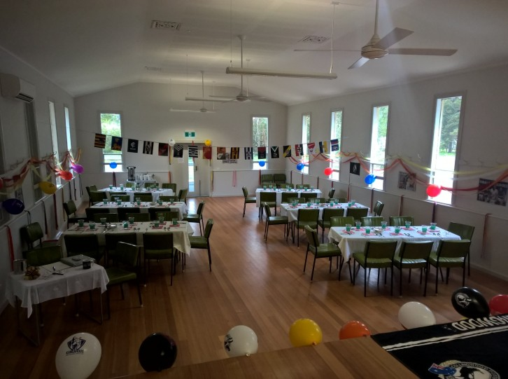 The Hall all decked out in footy colours.
