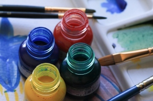 Art-materials-paint-brushes-coloured-ink