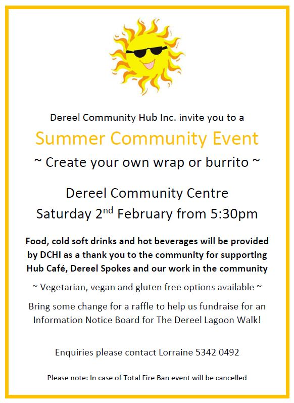 Community Event information for 'Make Your Own Wrap or Burrito' in Dereel on 2nd February at 5:30pm/