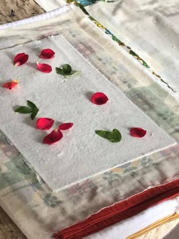 Papermaking: adding floral elements