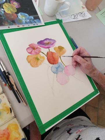Watercolour: Painting poppies