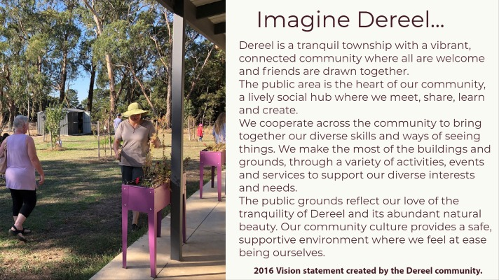 'Imagine Dereel' is the vision statement which came out of discussions with Dereel people in 2016 as part of the Community Planning process.